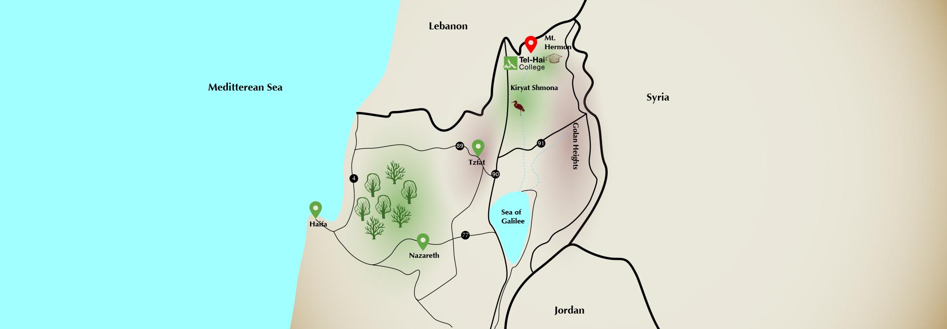 Map of Tel-Hai area